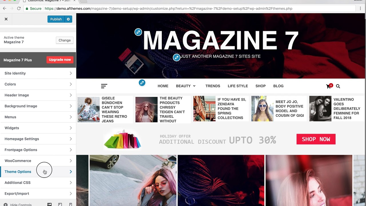 Magazine 7 – Clean & Elegant WordPress Theme – Customizer Settings
