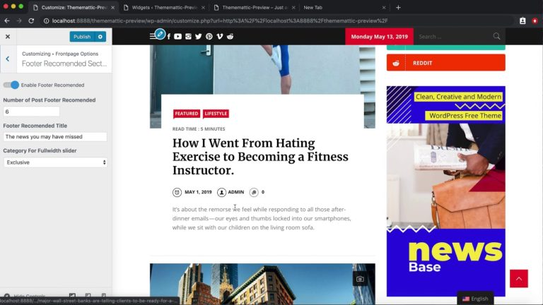 Showing Customizer Options for setting News Base Free WordPress Theme