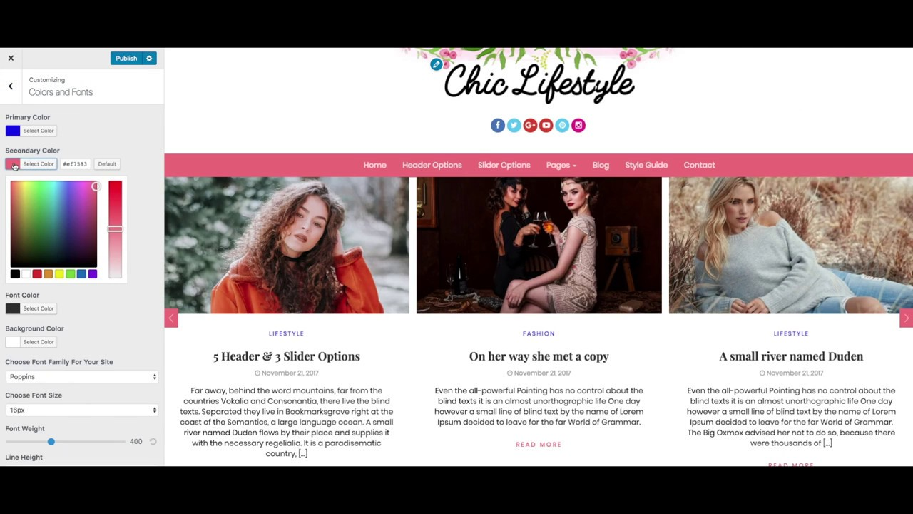 Chic Lifestyle WordPress Theme – Overview | Feminine Blog Website