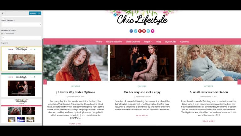 Configure Slider Options – Chic Lifestyle WordPress Theme | Feminine Blog Website