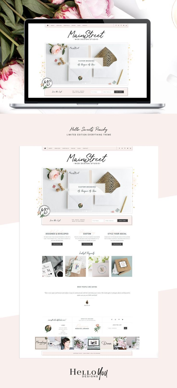 Hello Sweets Peachy Feminine WordPress theme for the Genesis Framework. Hello Yo…