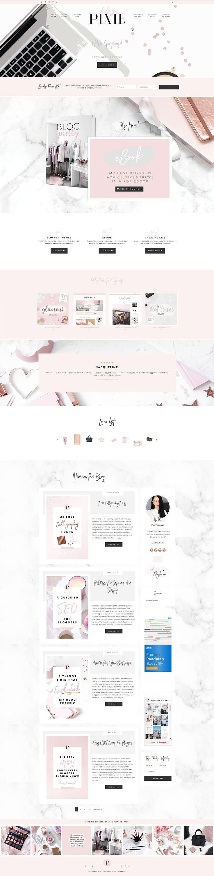 I absolutely LOVE this theme! Hello Maker Feminine WordPress theme for the Genes…