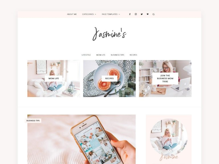 Feminine Blog + Shop Theme – Jasmine